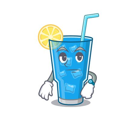 Mascot design style of blue lagoon cocktail with waiting gesture