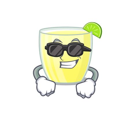 cartoon character of daiquiri cocktail wearing classy black glasses