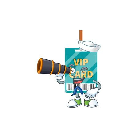 cartoon picture of VIP pass card in Sailor character using a binocular. Vector illustration