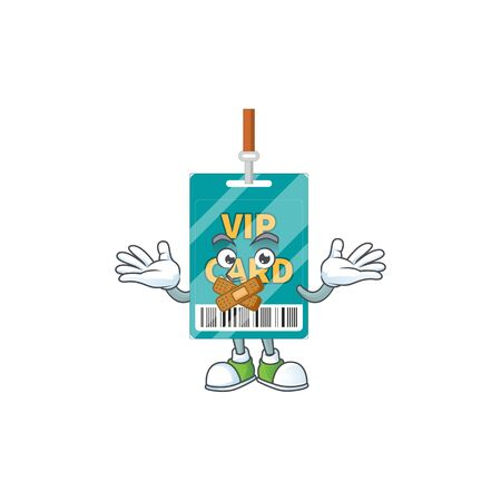 VIP pass card Cartoon drawing design making a quiet gesture. Vector illustration  イラスト・ベクター素材