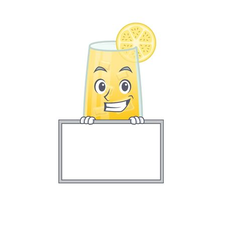 screwdriver cocktail cartoon design style standing behind a board. Vector illustration