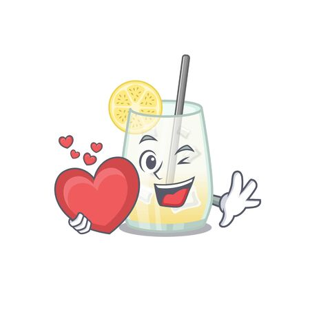 A sweet tom collins cocktail cartoon character style holding a big heart. Vector illustration