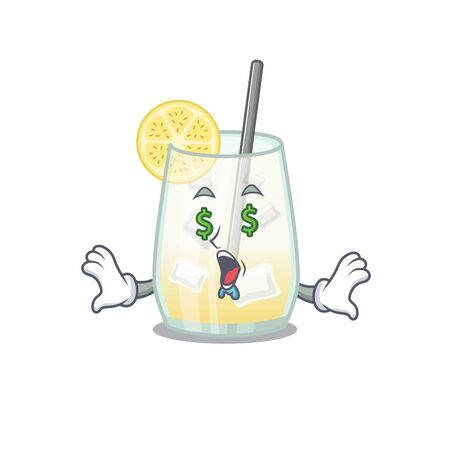 wealthy cartoon character concept of tom collins cocktail with money eyes. Vector illustration