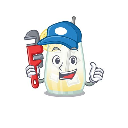 cartoon character design of tom collins cocktail as a Plumber with tool. Vector illustration