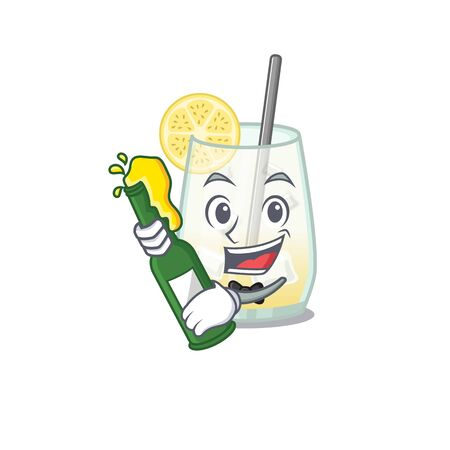 caricature design concept of tom collins cocktail cheers with bottle of beer. Vector illustration