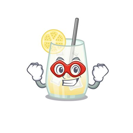 A cartoon drawing of tom collins cocktail in a Super hero character. Vector illustration