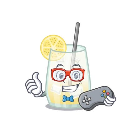 Mascot design style of tom collins cocktail gamer playing with controller