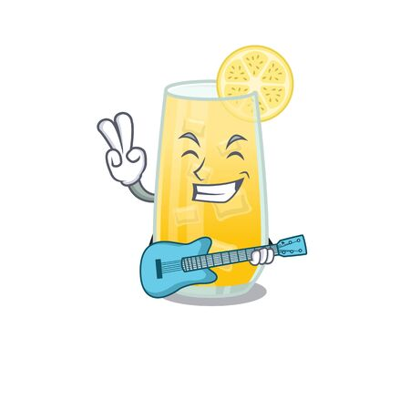 brilliant musician of screwdriver cocktail cartoon design playing music with a guitar