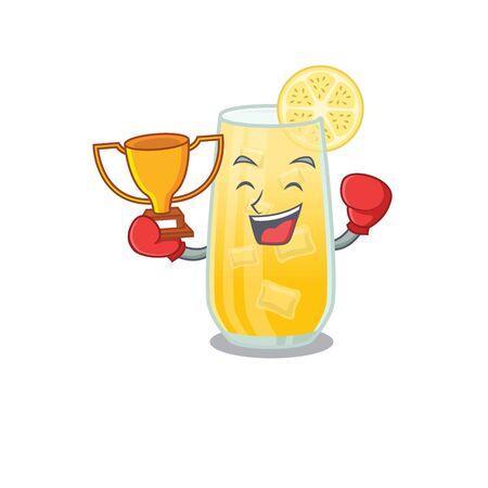 An elegant boxing winner of screwdriver cocktail caricature design concept