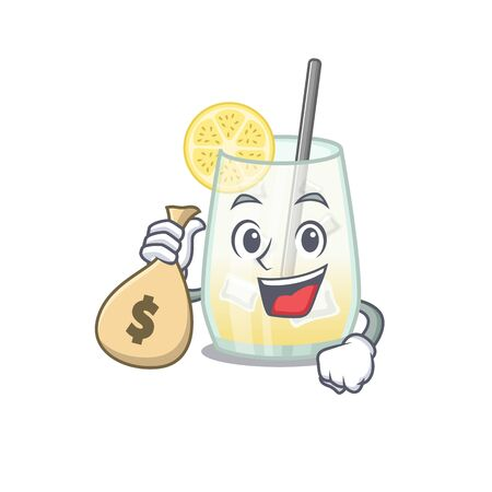 Crazy rich tom collins cocktail mascot design having money bags 向量圖像