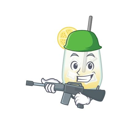 A cartoon picture of Army tom collins cocktail holding machine gun