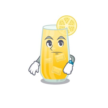 Mascot design style of screwdriver cocktail with waiting gesture