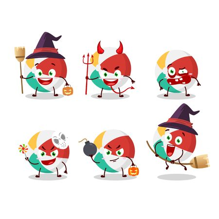 Halloween expression emoticons with cartoon character of beach ball. Vector illustration