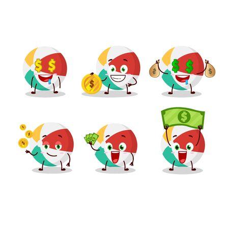 . Vector illustrationBeach ball cartoon character with cute emoticon bring money Illustration