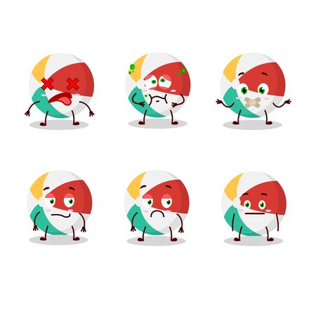 Beach ball cartoon character with nope expression. Vector illustration