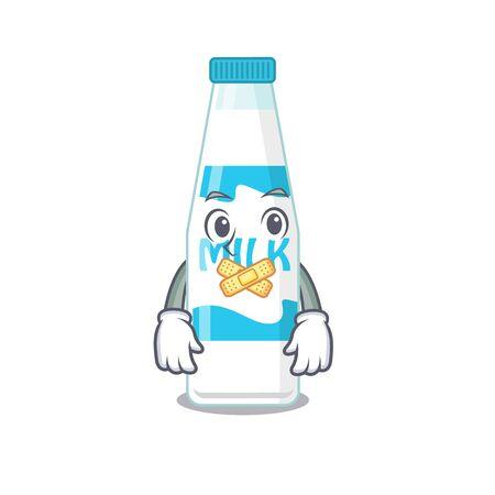 Bottle of milk cartoon character style having strange silent face