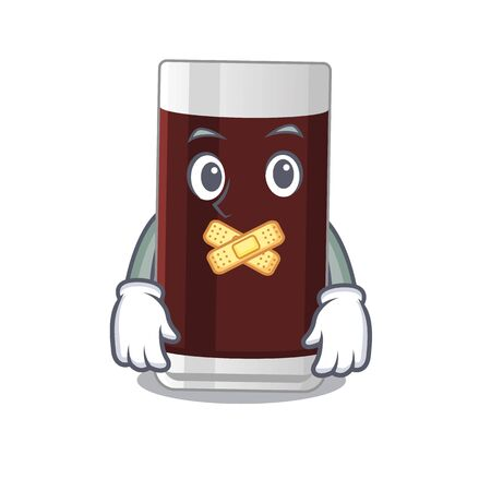 Glass of chocolate cartoon character style having strange silent face 写真素材 - 148884999
