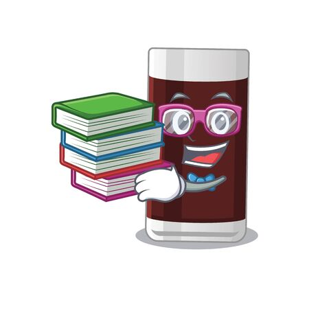 A diligent student in glass of chocolate mascot design concept read many books Illustration