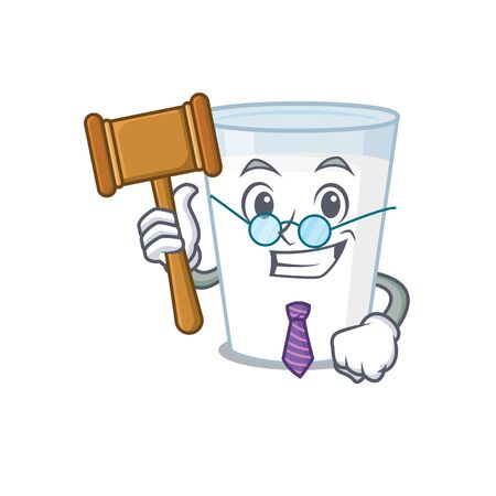 A wise judge of glass of milk mascot design wearing glasses