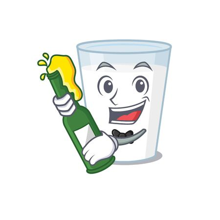 caricature design concept of glass of milk cheers with bottle of beer Vector Illustration