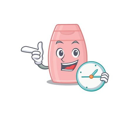 mascot design style of baby cream standing with holding a clock. Vector illustration  イラスト・ベクター素材