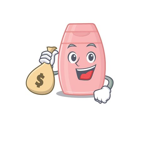 Crazy rich baby cream mascot design having money bags. Vector illustration