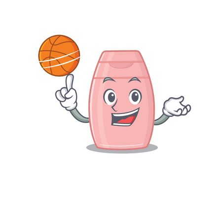 Sporty cartoon mascot design of baby cream with basketball. Vector illustration  イラスト・ベクター素材