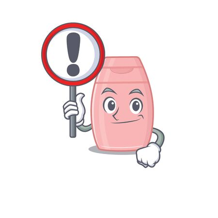 A cartoon icon of baby cream with a exclamation sign board. Vector illustration