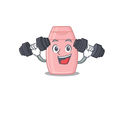 Baby cream mascot design feels happy lift up barbells during exercise. Vector illustration  イラスト・ベクター素材