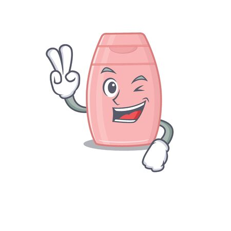 Happy baby cream cartoon design concept show two fingers. Vector illustration