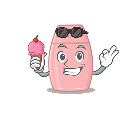 A cartoon drawing of baby cream holding cone ice cream. Vector illustration  イラスト・ベクター素材
