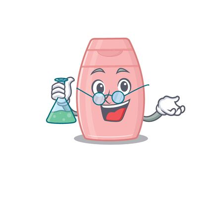 caricature character of baby cream smart Professor working on a lab. Vector illustration  イラスト・ベクター素材