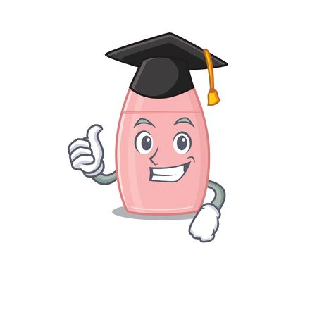 Happy proud of baby cream caricature design with hat for graduation ceremony. Vector illustration