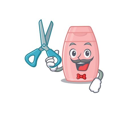 Baby cream cartoon character design as talented barber. Vector illustration  イラスト・ベクター素材
