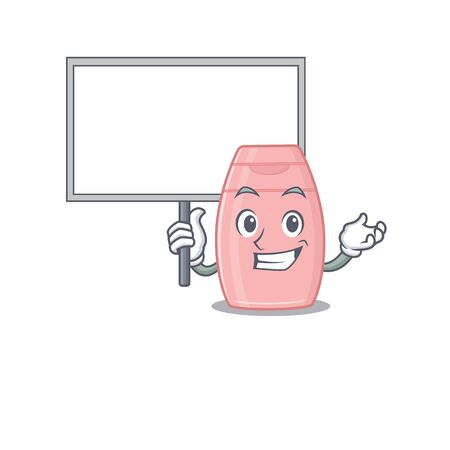 Cartoon picture of baby cream mascot design style carries a board. Vector illustration