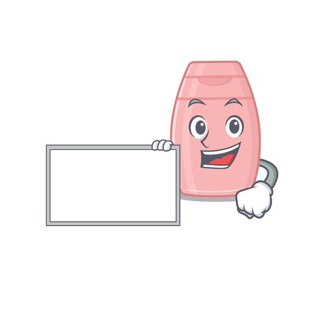 Cartoon character design of baby cream holding a board. Vector illustration