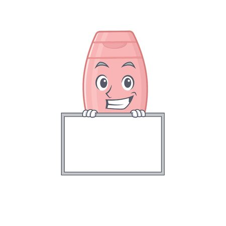 Baby cream cartoon design style standing behind a board. Vector illustration
