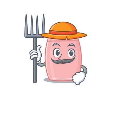 Baby cream mascot design working as a Farmer wearing a hat. Vector illustration
