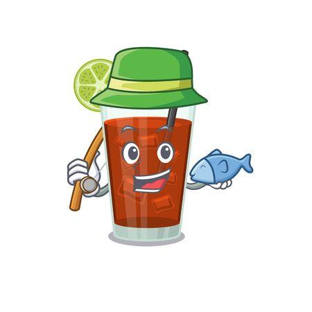 Cartoon design style of cuba libre cocktail goes to fishing. Vector illustration Иллюстрация