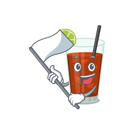 A heroic cuba libre cocktail mascot character design with white flag. Vector illustration Иллюстрация