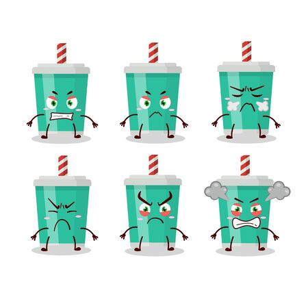 Soda bottle cartoon character with various angry expressions.Vector illustration  イラスト・ベクター素材