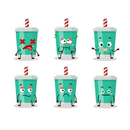 Soda bottle cartoon character with nope expression.Vector illustration