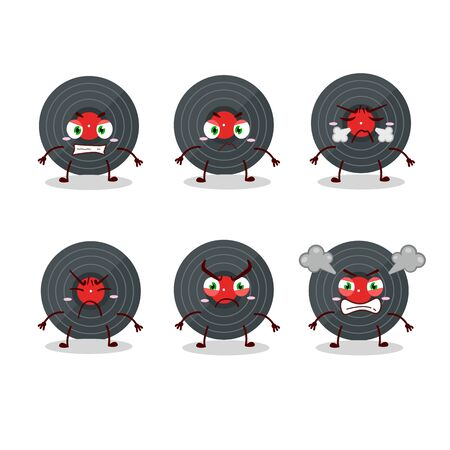 Vynil record cartoon character with various angry expressions.Vector illustration