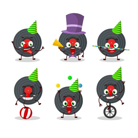 Cartoon character of vynil record with various circus shows.Vector illustration