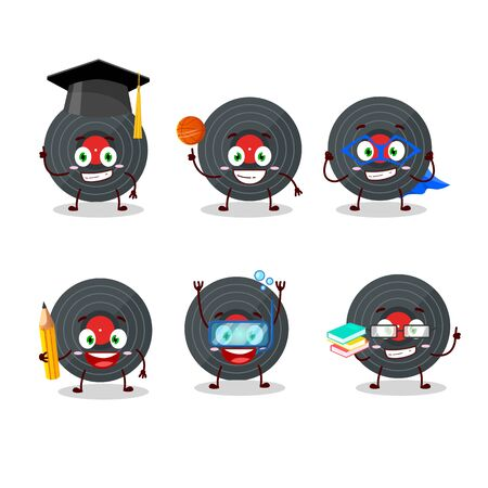School student of vynil record cartoon character with various expressions.Vector illustration