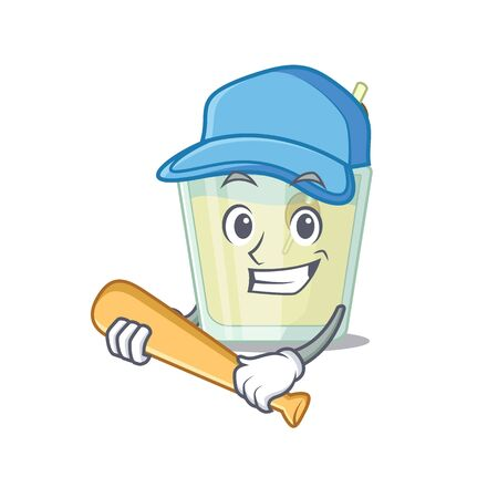 Attractive martini cocktail caricature character playing baseball. Vector illustration