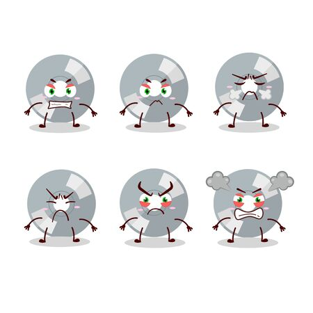 Compact disk cartoon character with various angry expressions.Vector illustration