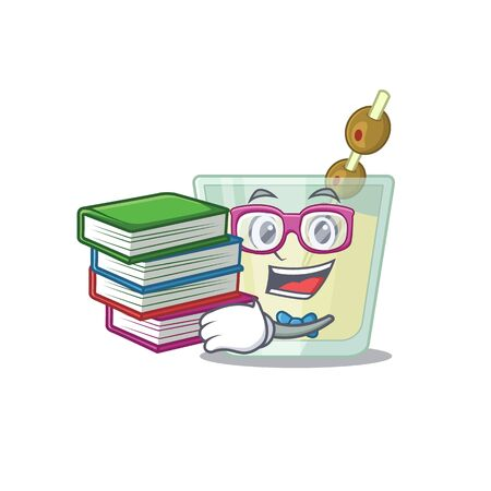 A diligent student in martini cocktail mascot design concept read many books. Vector illustration Illustration