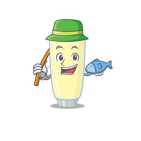 Cartoon design style of screaming cocktail goes to fishing.Vector illustration