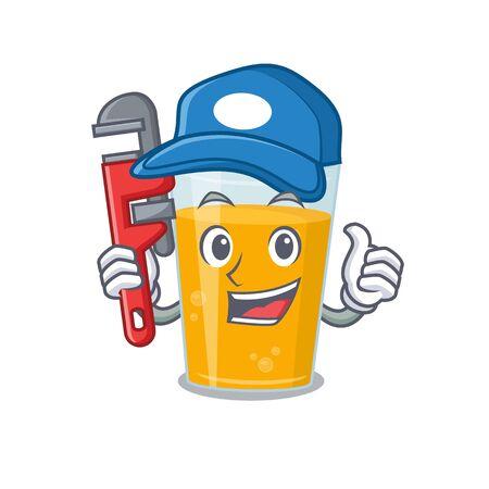 cartoon character design of glass of orange juice as a Plumber with tool. Vector illustration Vektorgrafik